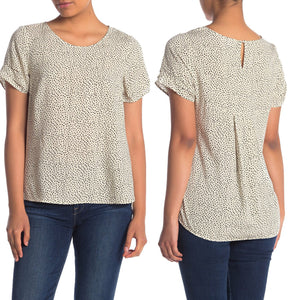DR2 by Daniel Rainn Short Sleeve Pinch Rayon Blouse in Ivory Size L (Petite) (NWT)