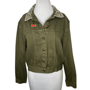 Alice + Olivia Chloe Embroidered Cropped Jacket In Army Size L (NWT)
