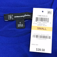 Load image into Gallery viewer, INC International Concepts Puff-Sleeve Top in Bright Blue Size S (NWT)