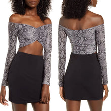 Load image into Gallery viewer, Tiger Mist Snakeskin Print Off the Shoulder Long Sleeve Crop Top Size M