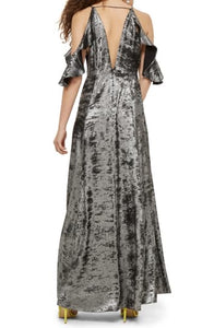 Topshop Cold Shoulder Foil Maxi Dress