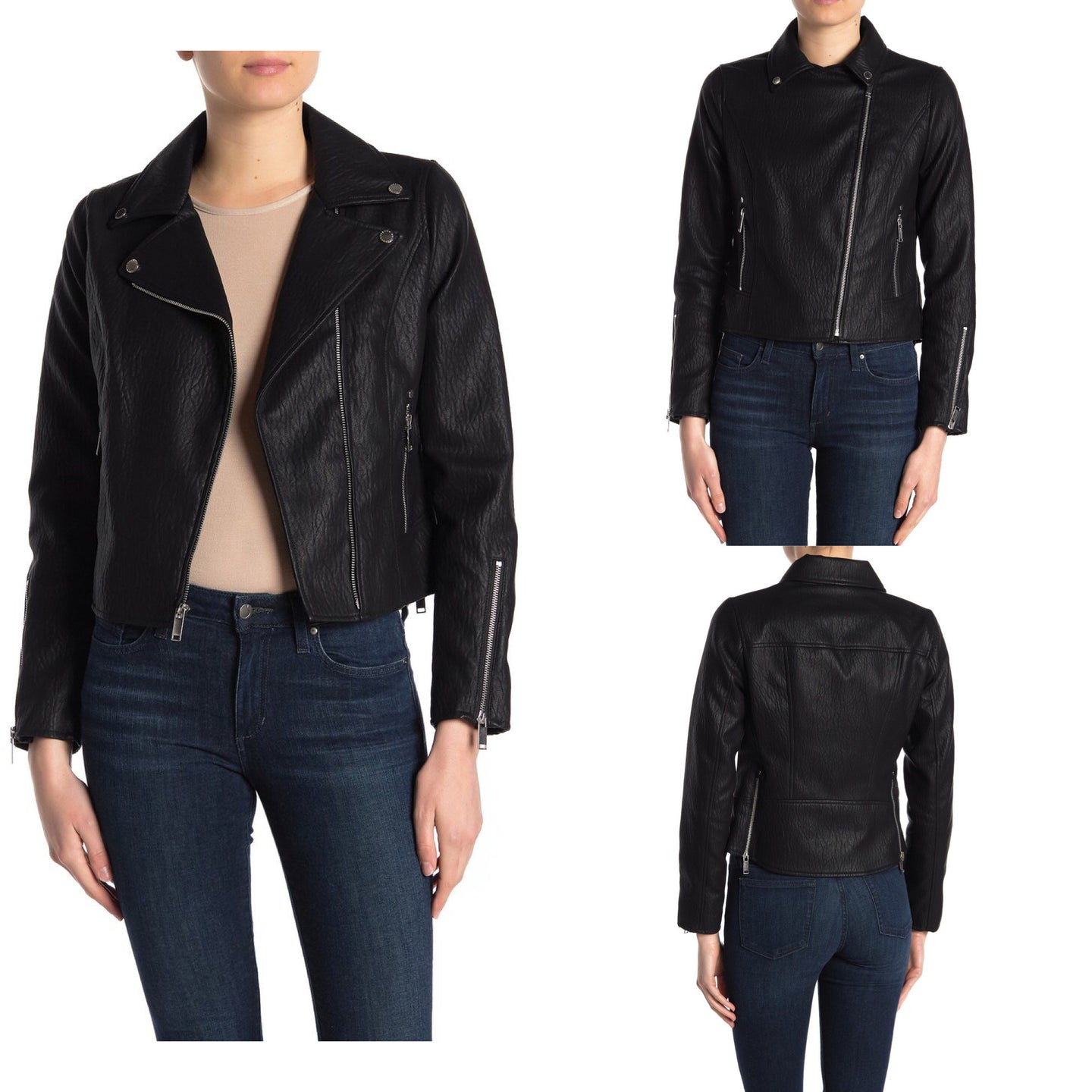 French Connection Faux Leather Moto Jacket Size M (NWT)