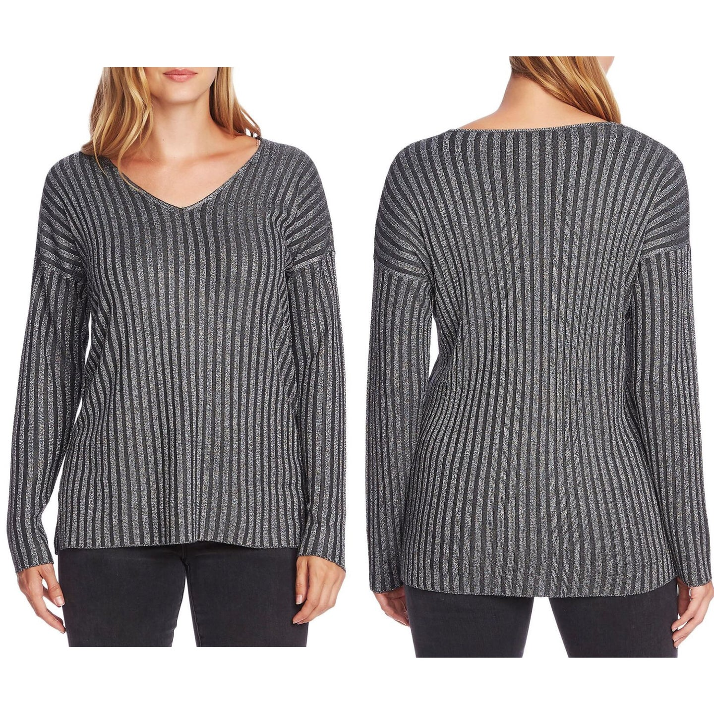 Vince Camuto Metallic Stripe V-Neck Sweater Size S (NWT)