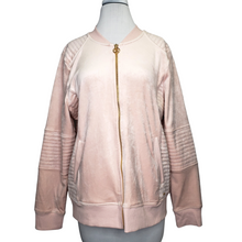 Load image into Gallery viewer, Calvin Klein Blush Pink Velour Bomber Jacket Size L (NWT)