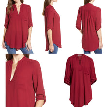 Load image into Gallery viewer, All in Favor Perfect Roll Tab Sleeve Tunic Size XS (NWT)