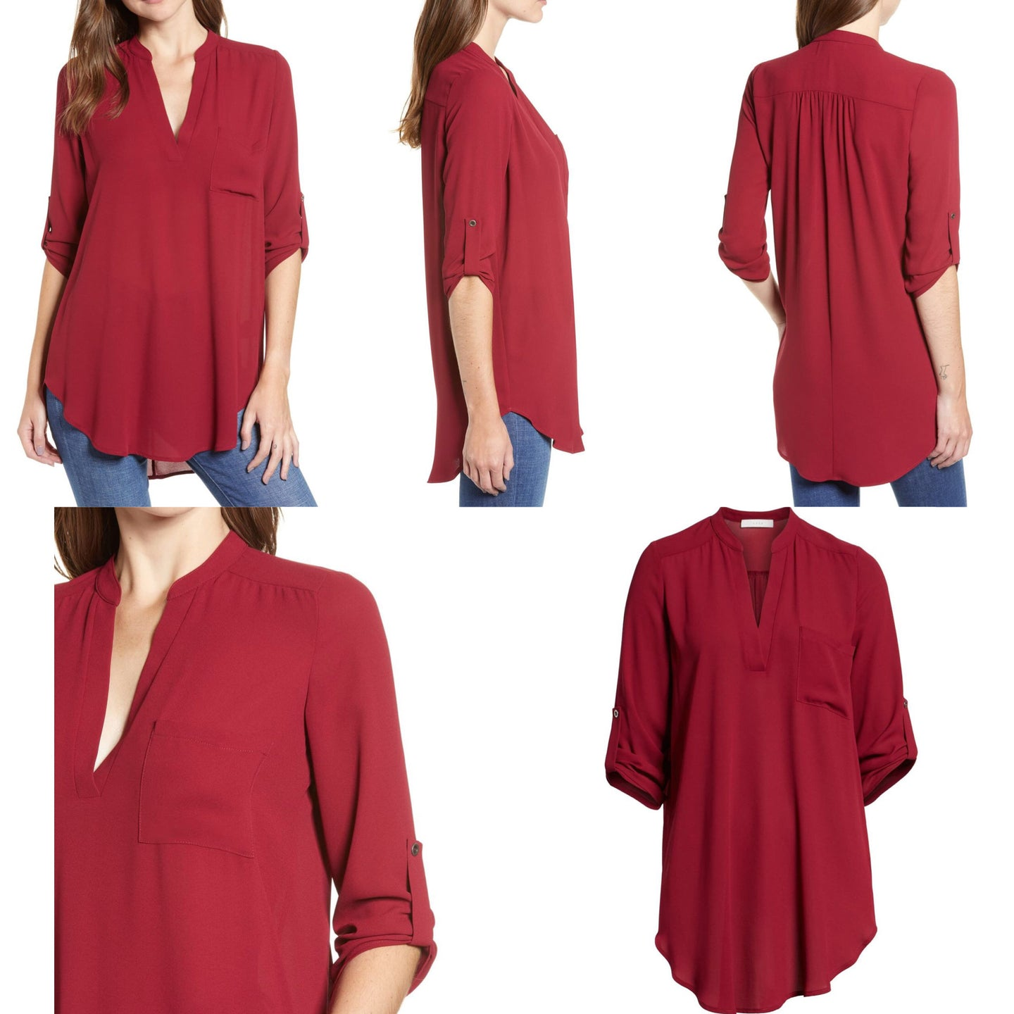 All in Favor Perfect Roll Tab Sleeve Tunic Size XS (NWT)