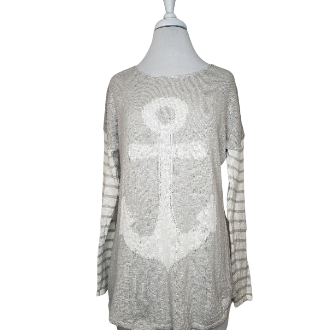 Project Grey & White Linen/Cotton Anchor Sweater Size S (NWT)