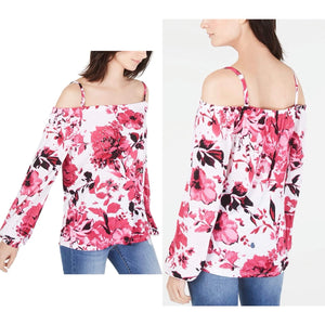 INC International Concepts Printed Off-The-Shoulder Top in Spring Breeze Size L (NWT)