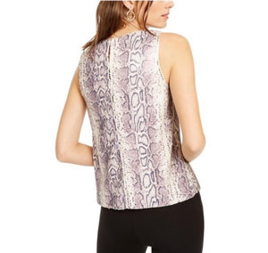 INC International Concepts Sequined Snake-Embossed Tank Top in Pale Mauve Size L (NWT)