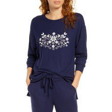 Load image into Gallery viewer, BP. Cozy Lounge Top in Navy Snowflake (NWT)