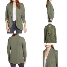 Load image into Gallery viewer, Caslon Textured Knit Jacket in Green Beetle Size M