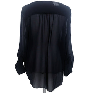 Joe Fresh Navy Sheer Blouse Size XL (NWT)