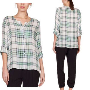 Joie Kariana Dusty Seagrass Plaid Blouse Size XS