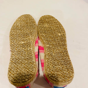 Toms Pink Umbrella Stripe Womens Slip On Shoes Size 6