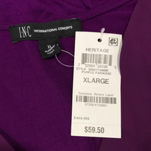 Load image into Gallery viewer, INC International Concepts Mixed-Media Dolman Blouse in Purple Paradise Size XL (NWT)