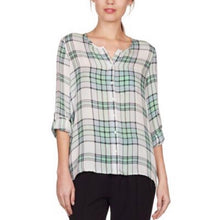 Load image into Gallery viewer, Joie Kariana Dusty Seagrass Plaid Blouse Size XS