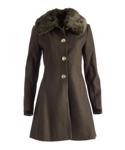 Laundry By Shelli Segal Faux Fur Trim Wool Blend Coat Size S (NWT)