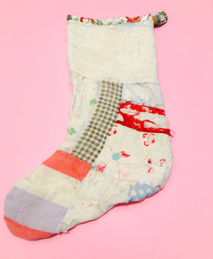 Nine patch shabby quilt Christmas stocking