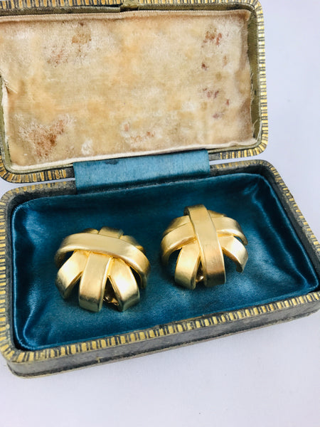 Vintage Gold Woven Dome earrings