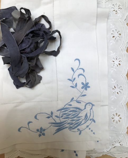 Vintage blue embroidered collar