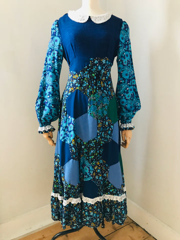 Rare Vintage 70s Patchwork Dress