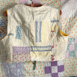 Shabby hopsack nine patch quilt waistcoat