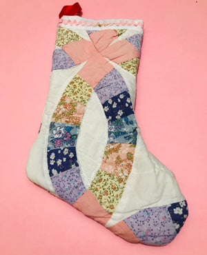 Wedding ring quilt christmas stocking