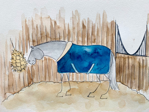 cartoon of a horse eating a hay net in a stable wearing a fluffy rug