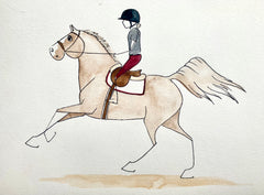 cartoon of a woman riding an out of control horse