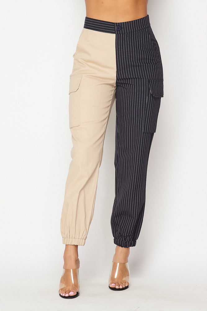 Hot & Delicious Two Sides Stripe Cargo Pant (Black/Taupe)