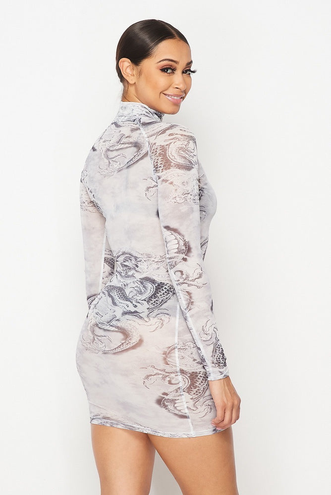 Hot & Delicious Dragon Print Mesh Dress (Grey)