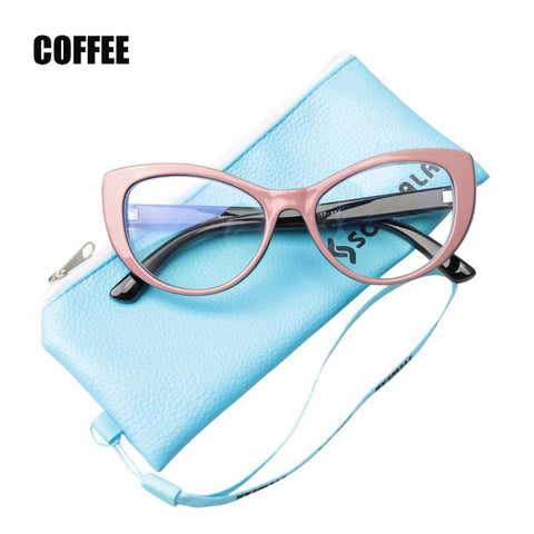 Image of Ladies Cat's Eye Screen Glasses with Blue Light Blocking Lenses
