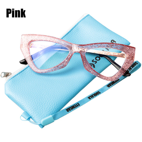 Triangle/Cats Eye Style Blue Light Blocking Glasses, variety of colors Sparkle Pink, Black, Sparkle Black etc!