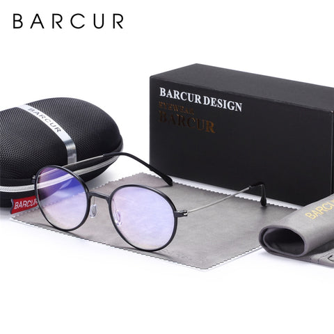 Image of BARCUR Blue Light Blocking Computer Glasses, Round Frames Unisex