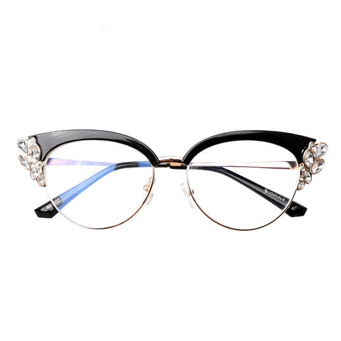 Anti Blue Light Glasses Women Cats Eye Rhinestone Eyeglass Frames - Anti Reflective Blue Light Blocking Glasses