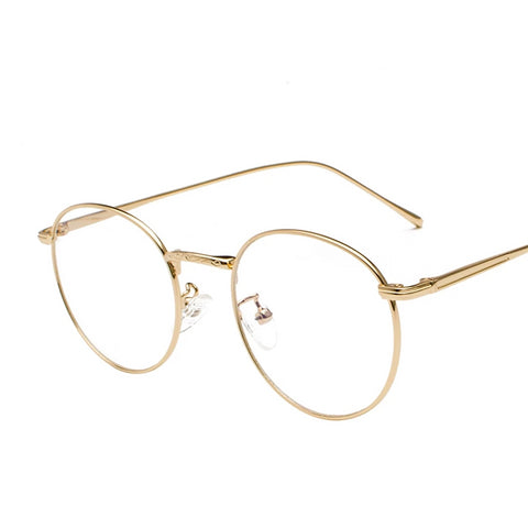 Vintage Retro Style Blue Light Blocking Glasses with thin metal frame, clear lens
