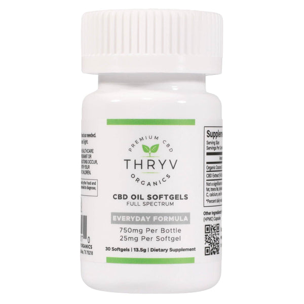 Thryv Organics full spectrum hemp extract hemp oil softgel capsules