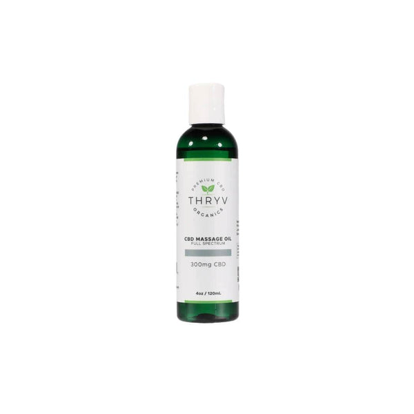 Thryv Organics Hemp-Infused Full Spectrum Massage Oil in green bottle