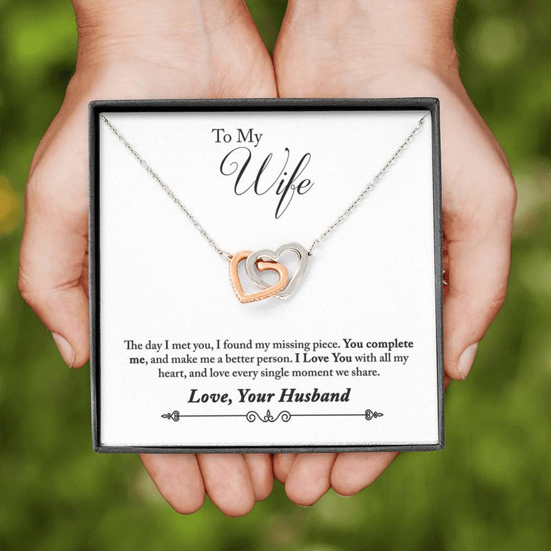 """To My Wife"" Interlocking Hearts Pendant Necklace Gift Set"