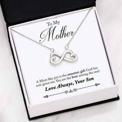 Jewelry 14k Everlasting White Gold Plated To My Mother Infinity Heart Necklace Customfam USAJewelry