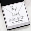 Jewelry 14k Everlasting White Gold Plated To My Wife Gold Scripted Love Necklace Customfam USAJewelry