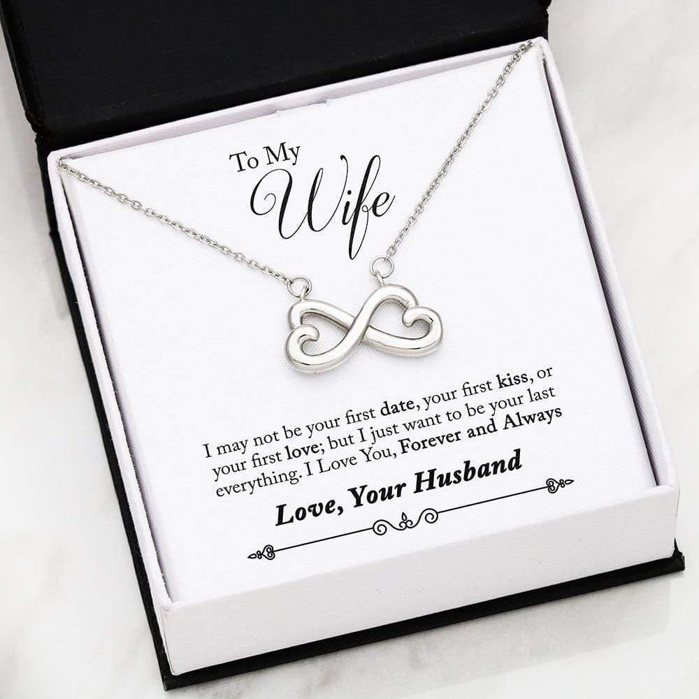 Jewelry 14k Everlasting White Gold Plated To My Wife Infinity Heart Necklace Customfam USAJewelry