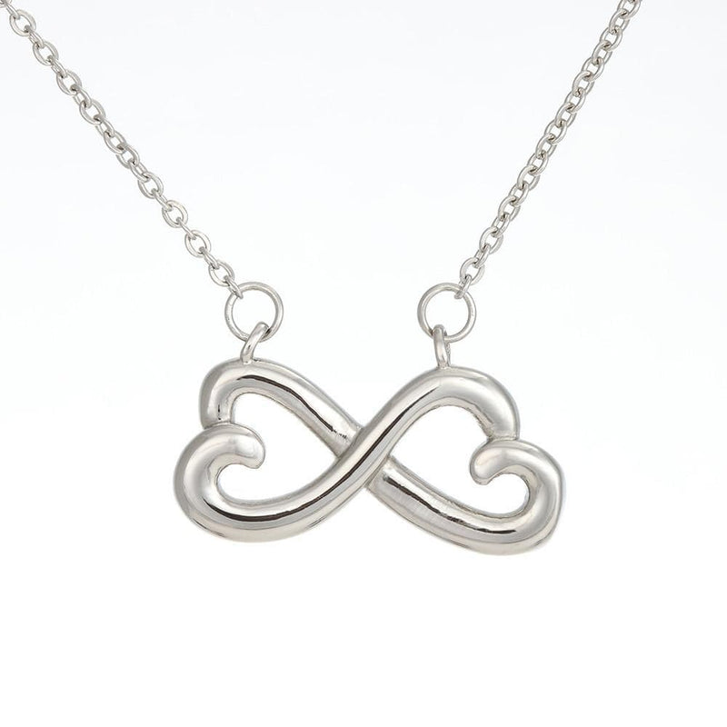 Jewelry 14k White Gold Finish To My Daughter INFINITY HEART NECKLACE - DAD Customfam USAJewelry