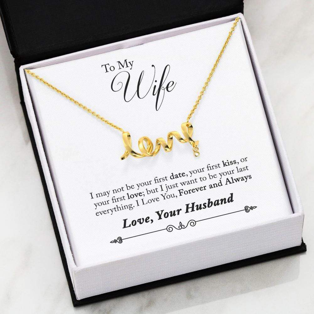 Jewelry 18k Everlasting Gold Gold Plated To My Wife Gold Scripted Love Necklace Customfam USAJewelry