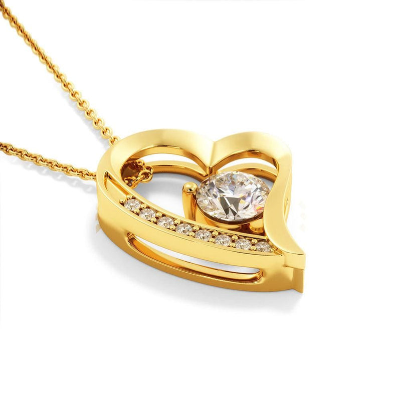 "Jewelry 18k Everlasting Yellow Gold Plated ""To My Wife"" Glimmering Heart Pendant Necklace Gift Set (Cubic Zirconia Crystal 6.5mm) Customfam USAJewelry"