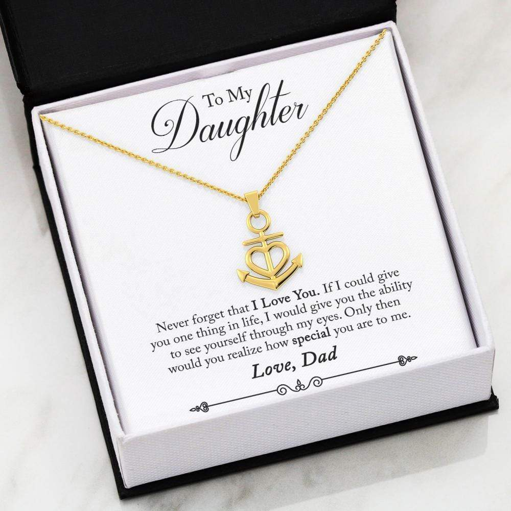Jewelry 18k Yellow Gold Finish Friendship Anchor To My Daughter FRIENDSHIP ANCHOR HEART NECKLACE - Dad Customfam USAJewelry