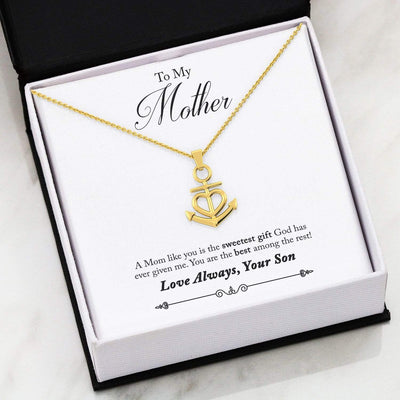 Jewelry 18k Yellow Gold Finish Friendship Anchor To My Mother Anchor Heart Necklace Customfam USAJewelry