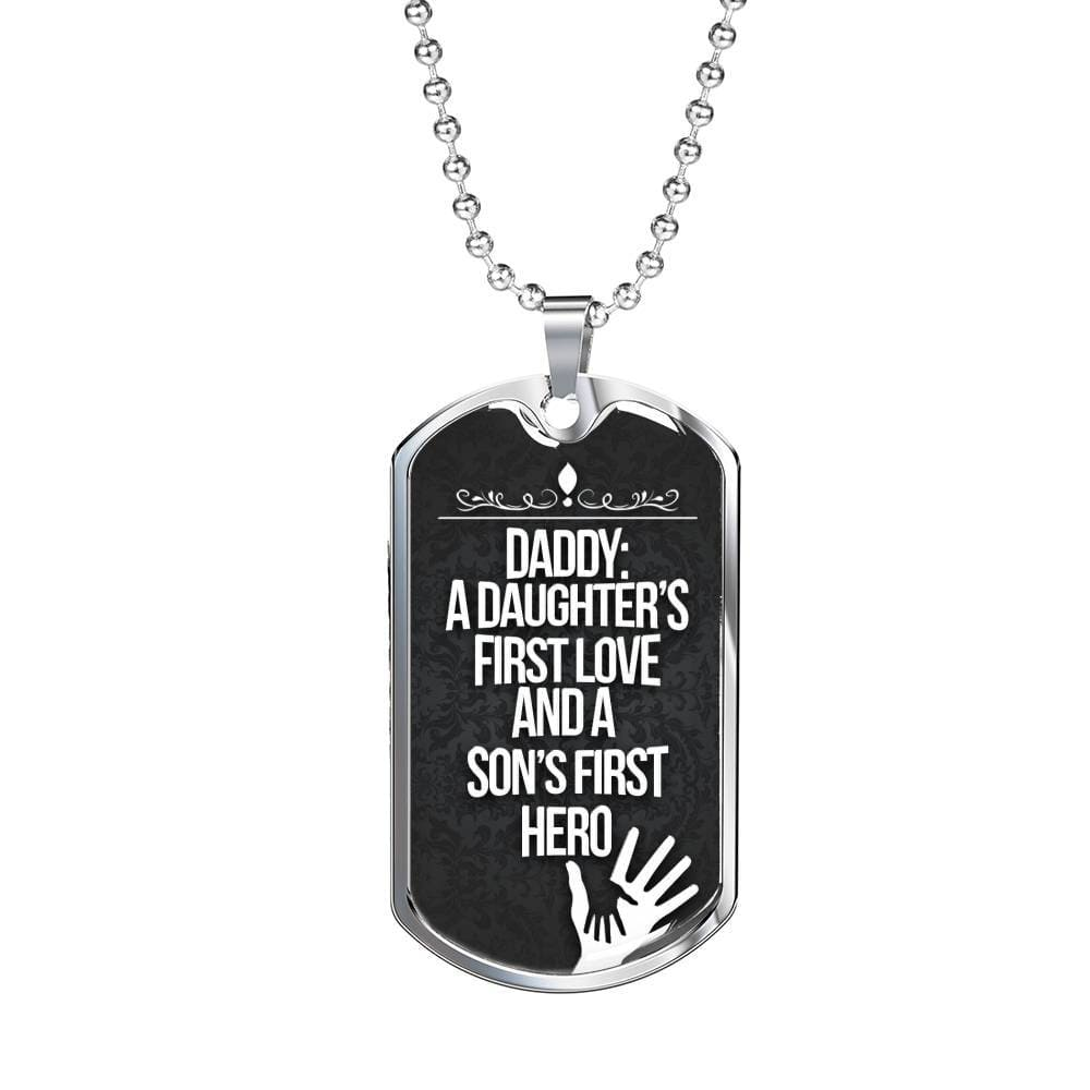 Jewelry A Daughters First Love, A Son´s First Hero - Luxury Dog Tag Customfam USAJewelry