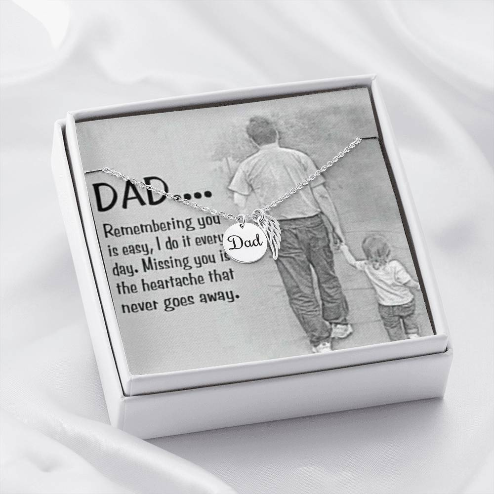 "Jewelry Dad - Polished Stainless Steel Dad ""Missing You"" Remembrance Necklace (Stainless Steel or Yellow Gold) Customfam USAJewelry"