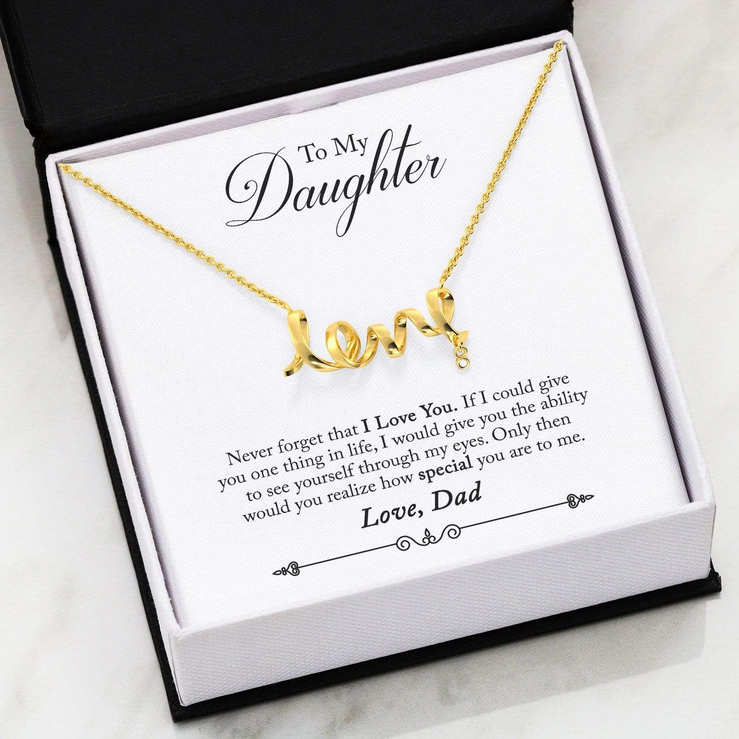Jewelry Gold Scripted Love (Limited) To My Daughter Scripted Love Necklace - Dad Customfam USAJewelry
